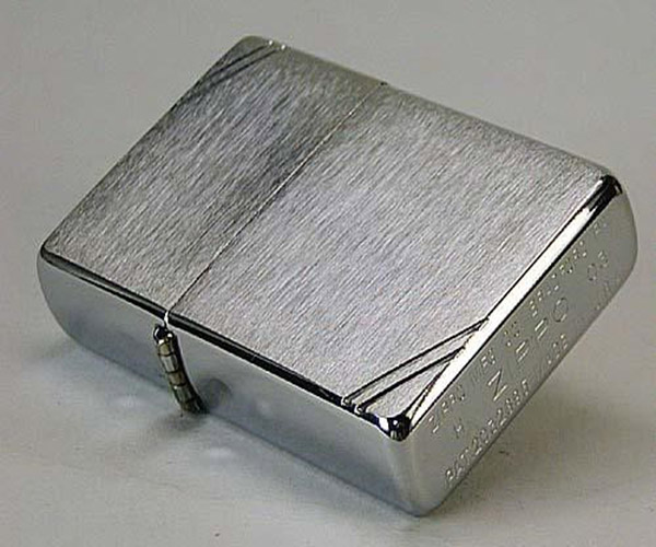 ZIPPO CHẶT GÓC NHÁM TRẮNG – BRUSHED CHROME VINTAGE WITH SLASHES 230