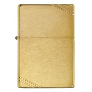 ZIPPO CHẶT GÓC NHÁM VÀNG – BRUSHED BRASS VINTAGE WITH SLASHES 240